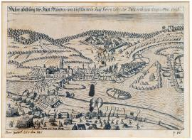112-The actual illustration of Münden, which was conquered and seized in 1626 by the Imperial General, Count Tilly.