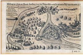 118-A depiction of Havelberg town and church, which were abandoned by the Danes and occupied by Imperial forces. 1627.