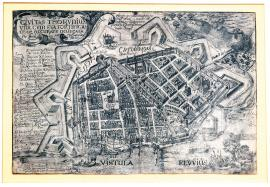 126-The town of Toruň, with its fortifications, accurately drawn by Jakub Hoffman, geometrician and architect.  Here, all the suburbs were destroyed by fire during the siege, which was carried out by the noble Herman Frangel in 1628.