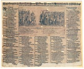 "140-A Magdeburg wedding song, sung to the tune of ""the Danish battle"". It was first printed in Augsburg, and here it was disseminated by Papists in 1631."