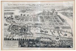 145-An actual illustration of the royal Swedish field camp at Werben-on-Elbe. 1631. Werben and the Swedish camp.