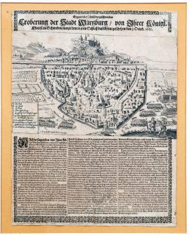164-An unusual drawing of the swift conquest of the town of Würzburg with its fortified castle, by His Royal Highness of Sweden, on the 8th of October 1631.