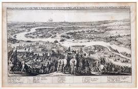 168-An illustration of the town and the occasion on which His Highness King of Sweden and his army crossed the Rhine, forced the Spanish cavalry to flee, and conquered the town of Oppenheim on the 7th of December 1631.