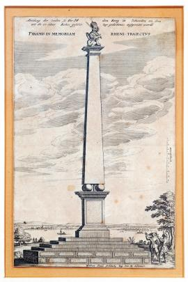 169-A depiction of the pillar which was built in memory of the crossing of the Rhine at this point by His Majesty King of Sweden. A pillar in memory of the crossing of the Rhine. Portrayed by Mat. Staud, His Royal Highness