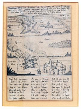 171-An unusual drawing of the situation and demolition of two ramparts above the Rhine, which had been built by colonel Ossa in 1630 between Haguenau and Lichtenau, but now they were burned and razed (to the ground) for freedom and the motherland, in January 1632.