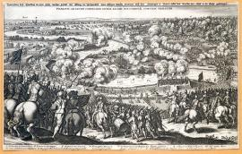 175-An illustration of the clash at Lech, and the manner in which the King of Sweden crossed this river and forced the Duke of Bavaria and Count Tilly to flee. The Battle of Lech took place between the King of Sweden and Count Tilly.