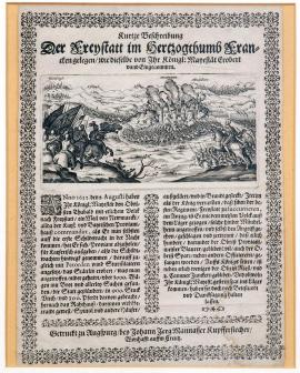 "187-A brief description of Freudenstadt, situated in the Duchy of Franconia, which was conquered and occupied by His Royal Highness. Printed in Augsburg by John Jerg Manasser, copper engraver, living ""on the cross""."