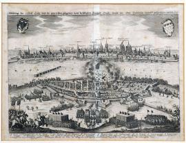 202-An illustration of the city of Cologne and the suburb of Deutz lying opposite, with the attack carried out by general Baudissin in 1632
