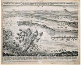 214-A true depiction of the battle between the Swedish and Lorraine armies on 31 of July 1633 at Pfaffenhofen, in which the Swedish 'got the field' (i.e. won).