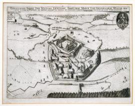 215-An unusual drawing of the fortress of Lichtenau, including its location in the countryside, which was besieged on behalf of His Excellency Duke Bernhard of Weimar etc. and conquered by and given up upon agreement to the young Count of Thurn on 24 August 1633.