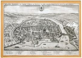221-An unusual depiction of the town of Konstanz situated on Lake Bodensee as it looked at the time of the siege in the year 1633.