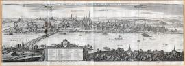 223-A genuine depiction of the town of Mainz, including new fortification walls, the bridge of ships and the army camp, as it all stood at the old times. The year 1633.