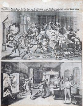 224-A real depiction of the assassination committed in Cheb on 15 February 1634 on the Duke of Friedland and several other Imperial colonels and officers.
