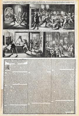 226-An original depiction and message about the way the Imperial Duke of Friedland was assassinated with several other colonels and officers in Cheb on 25 February 1634