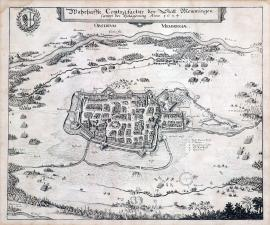228-A true depiction of the town of Memmingen including its siege that took place in the year 1634.