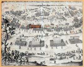 230-An original drawing of a battle fought on 3 May of the year 1634 near Legnica in Silesia, in which the Imperial army was defeated and scattered around by the Swedish-Saxon army.