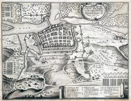 232-A ground-plan of the siege of the city of Frankfurt, which was besieged by His Excellency Electorate, apart from the General Banner on 13 May, and was conquered on 23 May. In the year 1634.