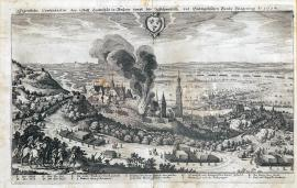 233-An original depiction of the town of Landshut in Bavaria besieged by the Swedish - Evangelic Federation, in the year 1634.