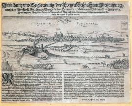 235-A depiction and a description of the free Imperial city of Regensburg, which was captured by His Excellency Count Duke Bernhard of Weimar, and following a siege lasting several months by his Majesty in Hungary on behalf of his Imperial Majesty handed over again upon a good agreement on 28 July 1634.