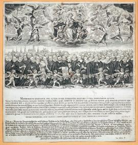 239-This engraving lacks the usual explanatory inscription, however its topic is a prayer of forty hostages abducted by the Swedish King Gustav Adolph from Munich in 1632.