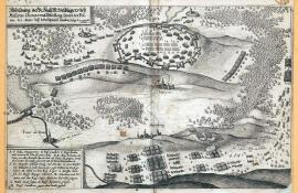 243-A depiction of the field camp of the Holy Roman Emperor at Mesieres, Dieuze and Merseburg with the position of the army, when the Swedish marched pass on 25 and 26 October 1635.