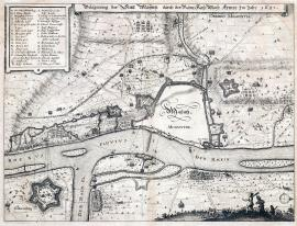 244-The siege of the town of Mainz by the Imperial army in the year 1635.