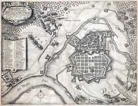 245-An original outline of the well-built town of Hanou which was liberated from the Imperial siege by the Swedish and the Landgrave William of Hesse on 13 June 1636.