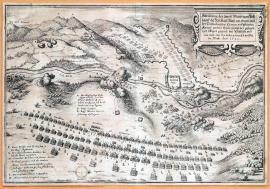 280-A depiction of two powerful field camps of the army of Holy Roman Empire on one side and the army of the United Crowns and territories on the other, including the position of the same landscape near Saalfeld, and how far one was one army pushed to retreat by the other. May 1640.