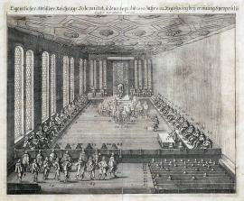 284-An original depiction of the ceremonial session of the Imperial Diet held on 15 September 1640 in Regensburg, during the opening session eight proposals were brought out and dealt with.