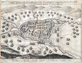 288-A depiction of the town of Neuburg as it was surrounded and cannonaded by the Imperial and Bavarian army and how the Colonel Schlange with the Swedish garrison inside was forced to give up on 21 March 1641.