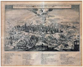 409-A true picture of Leipzig that was besieged and bombarded from 6 to 27 January 1547 after the suburb was burnt down by John Frederick, Elector of Saxony.