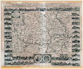 45-The geographical picture of Kurfalc with Wettera and the adjacent dominions surrounded by all emblems and the towns conquered by the marquis Spinola for the imperial Majesty Ferdinand II from August 1620 to March 1621.