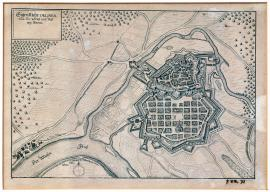 468-The actual drawing of the town and fortress of Hanau.