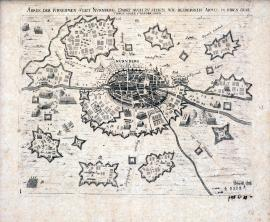 550-An illustration of the noble city of Nuremberg; we can also see how the armies have camped opposite each other in their quarters.