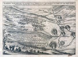 557-An accurate drawing of the battle that took place on 15 November 1640 between the Colonel Reinhold of Rosen and the Imperial General Field Marshal Colonel Baron of Breda at Ziegenhein.
