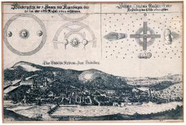 "73-Odd appearance of three suns and rainbows which appeared on 25 January (or 4 February, according to the new calendar) 1622. Odd ""chasma"", which was seen at night above Heidelberg on 5/15 February 1622."
