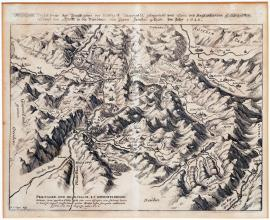 74-True drawing of Pratigov in Meyefeldst estate, which lies around Chur, and surrounding lands; battle of Pündtners against their enemies. In 1622.
