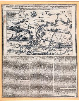 83-True and certain report with depiction of how Christian, Duke of Brunswick captured Höchst, electoral town of Main, and how his army was defeated and disbanded by all the imperial armies on 20 June of the new calendar, or 10 June of the old calendar, in 1622. Printed in 1622.