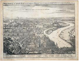 85-True depiction of the town of Höchst and the surrounding landscape with battle between the imperial and Brunswick army, which took place in 1622.