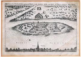 87-Depiction of Dutch fort Pfaffenmütz between Cologne and Bonn on Rhein. 1622.