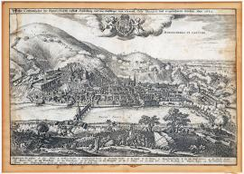96-A true depiction of the elector city of Heidelberg which was besieged and conquered by the General Tilly. In the year 1622.