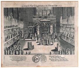 9-The coronation of His Majesty, king Ferdinand II, the Roman emperor in 1619.
